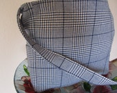 Blue and White Plaid Upholstery Fabric Tote Long Strap, Lap Top, Diapers, Books, Travel 1304
