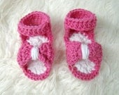 Crochet Baby Sandals 0-3 months Hot Pink and white