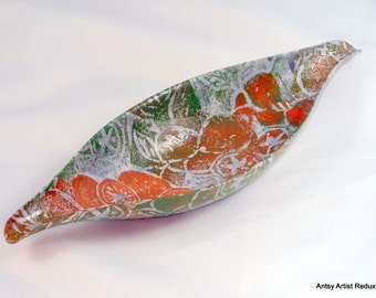 Orange kumquat dish reuse vessel  metal hand printed citrus collage