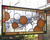 """Circles on a Grid Geometric 10"""" x 18""""-Stained Glass Panel"""