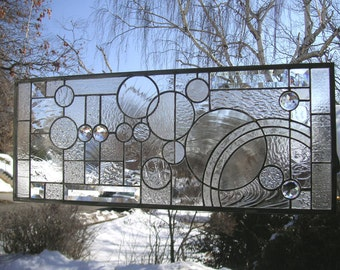 """Arts and Crafts Style Circles-- 11"""" x 27""""- Stained Glass window Panel"""