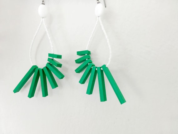green sticks tribal geometric earrings with white beads - contemporary jewelry