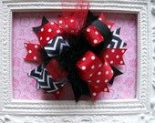 Chevron Hair Bow, Colorful Hair Ribbon, Custom Baby Hairbow, Ribbon Hair Clip, Baby Hair Bow Clip, Red and Black Bow