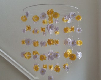 Yellow and White Daisy Flower Baby Mobile Colorful Butterfly Mobile 14 inch