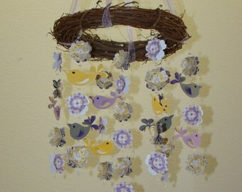 Love Bird Baby Mobile in Purples Yellows and Gray WithOUT the Branch