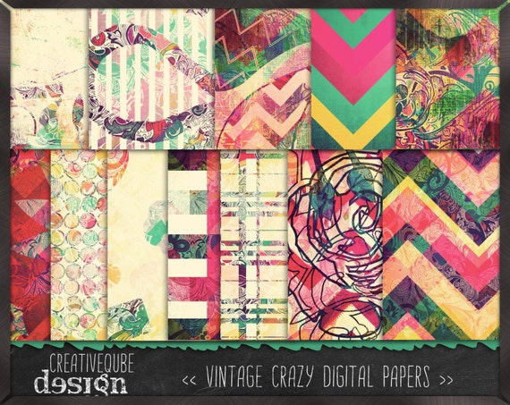 Digital paper, Digital Scrapbook paper pack - Instant download - 12 Digital Papers - Crazy vintage