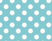 Aqua and White Medium Polka Dot Cotton For Riley Blake, 1 Yard