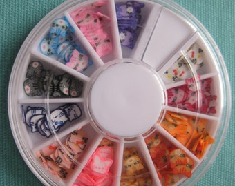 Cat Design polymer clay cane slices Nail Art wheel