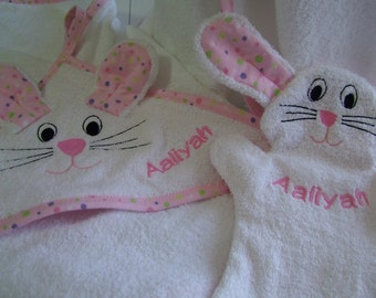 bunny Towel Set with Puppet Wash Mitt