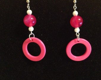 Pink and White Circle Earrings