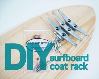 "DIY 28"" SURFBOARD Coat Rack with Cleats"