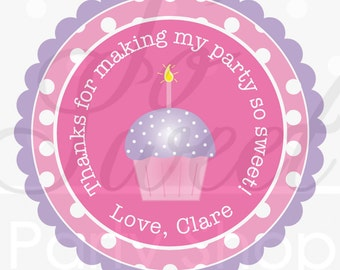 24 Girls Birthday Stickers - Polkadots Pink, Lavender with Cupcakes - Birthday Party Decorations