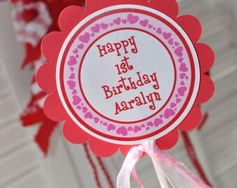 Heart Cake Topper - Valentine's Day Birthday Party - February Birthday - Heart Birthday Decorations