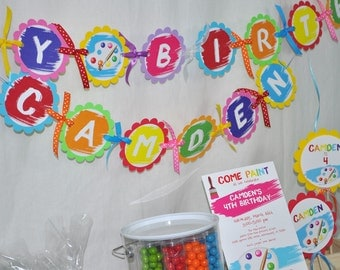Birthday Banner - Artist Painting Party Art Birthday Party Decorations - Happy Birthday Banner - Personalized Birthday Banner