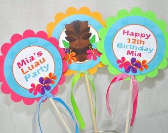 Luau Birthday Centerpiece Sticks, Hawaiian Luau Birthday Decorations, Tiki Party Decorations, Table Decorations, 1st Birthday - Set of 3