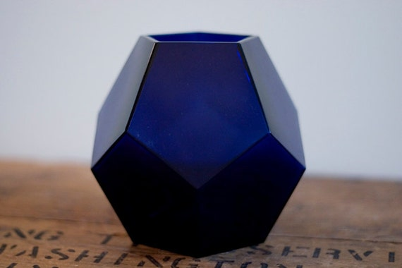 Vintage Blue Glass Geometric Vase Dodecahedron By