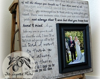 Father of the Bride Picture Frame Gift, Parent Wedding Thank you Gift, All Daughters Learn, Daddy