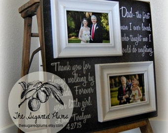 Father Daughter Gift, Father of the Bride, Parent Wedding Thank you Gift, Dad The First Man I Ever Loved, Daddy 16x16 Parents Thank You Gift