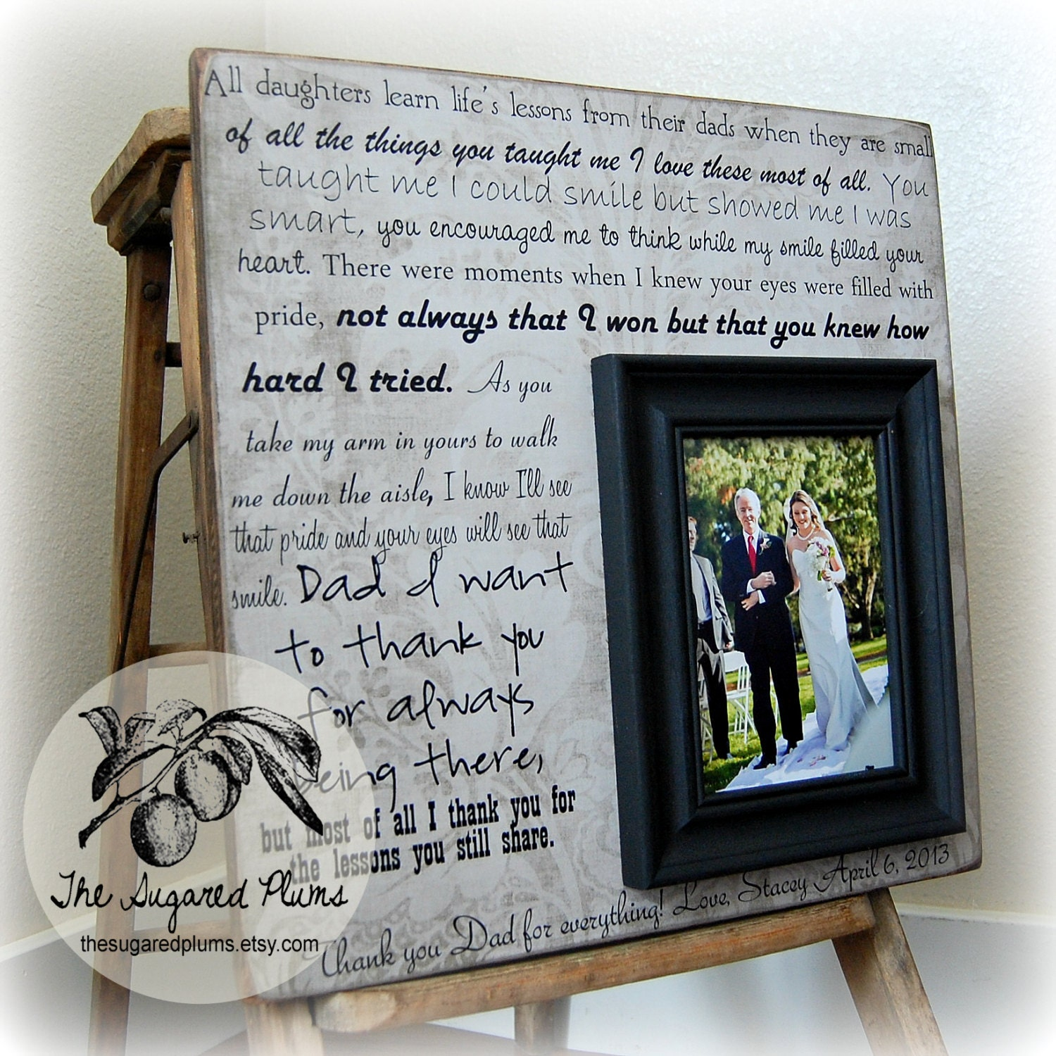 Gifts For Parents Wedding Thank You: Father Of The Bride Picture Frame Gift Parent Wedding Thank