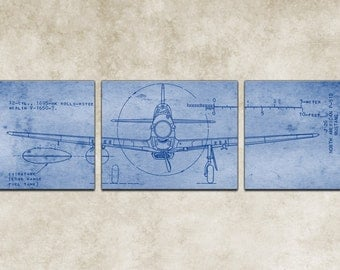 P 51 blueprint art etsy vintage north american p 51d mustang blueprint malvernweather Gallery