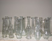 18 Vintage Clear Glass Vases Lot