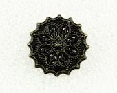 Wholesale - Flower Metal Buttons - Fancy Lot 50 Bronze Pierced Gothic Style Flower Lattice Buttons. 0.71 inch