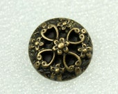 Wholesale - Metal Buttons - Deep Carved Flower Thick Copper Buttons.  0.71 inch, 50 pcs