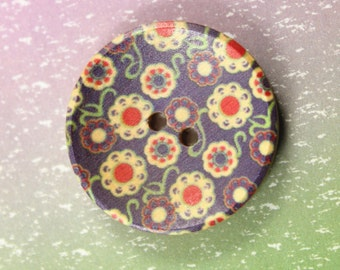 Flower Wooden Buttons -  Blue-violet Scattered Various Flowers Picture Concave Wood Buttons. 1.18 inch. 6 in a set