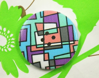 Rectangle Art Wooden Buttons - Abstract Geometric Wood Buttons 1.58 inch. 6 in a set