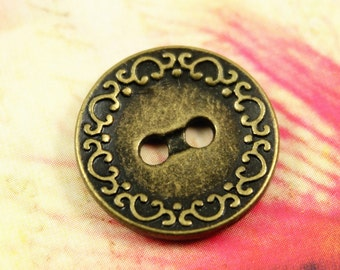 Metal Buttons - Scrollwork Border Metal Buttons , Antique Brass Color , 2 Holes , 0.71 inch , 10  pcs