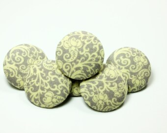 Elegant Baroque Floral Pattern Dull Purple Fabric Buttons,1 inch.  (6 in a set)