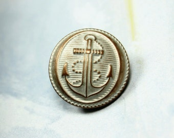 Metal Buttons - Rope And Anchor Metal Buttons , Copper White Patina Color , Domed , Shank , 0.75 inch , 10 pcs
