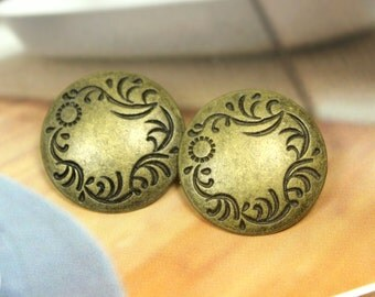 Metal Buttons - Carved Floret Metal Buttons , Antique Brass Color , Thin Domed , Shank , 0.87 inch , 10 pcs