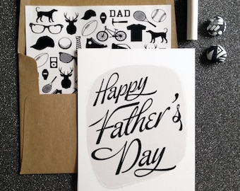 Classic black and white Father's Day Card- white folded A2 greeting card with lined kraft brown envelope included