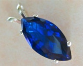 AAA Blue Sapphire Marquise Cut Pendant  in Sterling Silver (P190)