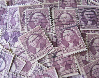 Father of our Country 50 Vintage President George Washington US Postage Stamps 1930s 3cent Deep Purple Violet Indigo Scott 720 Scrapbooking