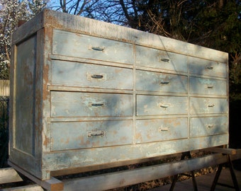 Vintage Painted Wood Distressed Cabinet Makers Cabinet / Tool Cabinet / Buffet / Baby Blue / Rustic Cottage / Farm / 12 Drawer Wood Cabinet