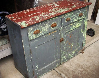 Vintage Painted Wood Cabinet / Heavily Distressed / Layers of Old Paint / Rustic / Farm / Industrial / Woodshop Cabinet