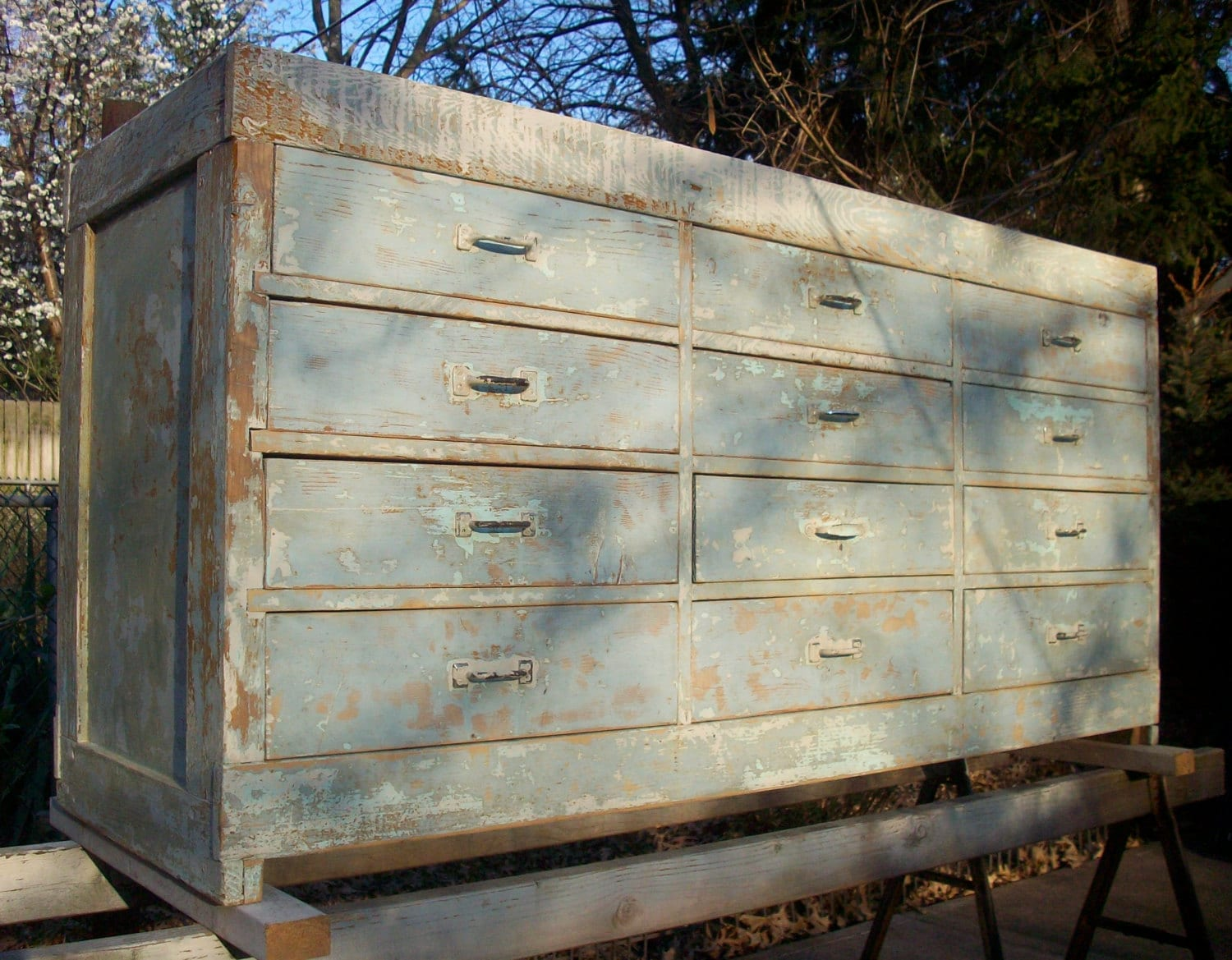 Vintage Painted Wood Distressed Cabinet Makers By Urgestudio. Full resolution  pic, nominally Width 1500 Height 1169 pixels, pic with #2C6F9F.
