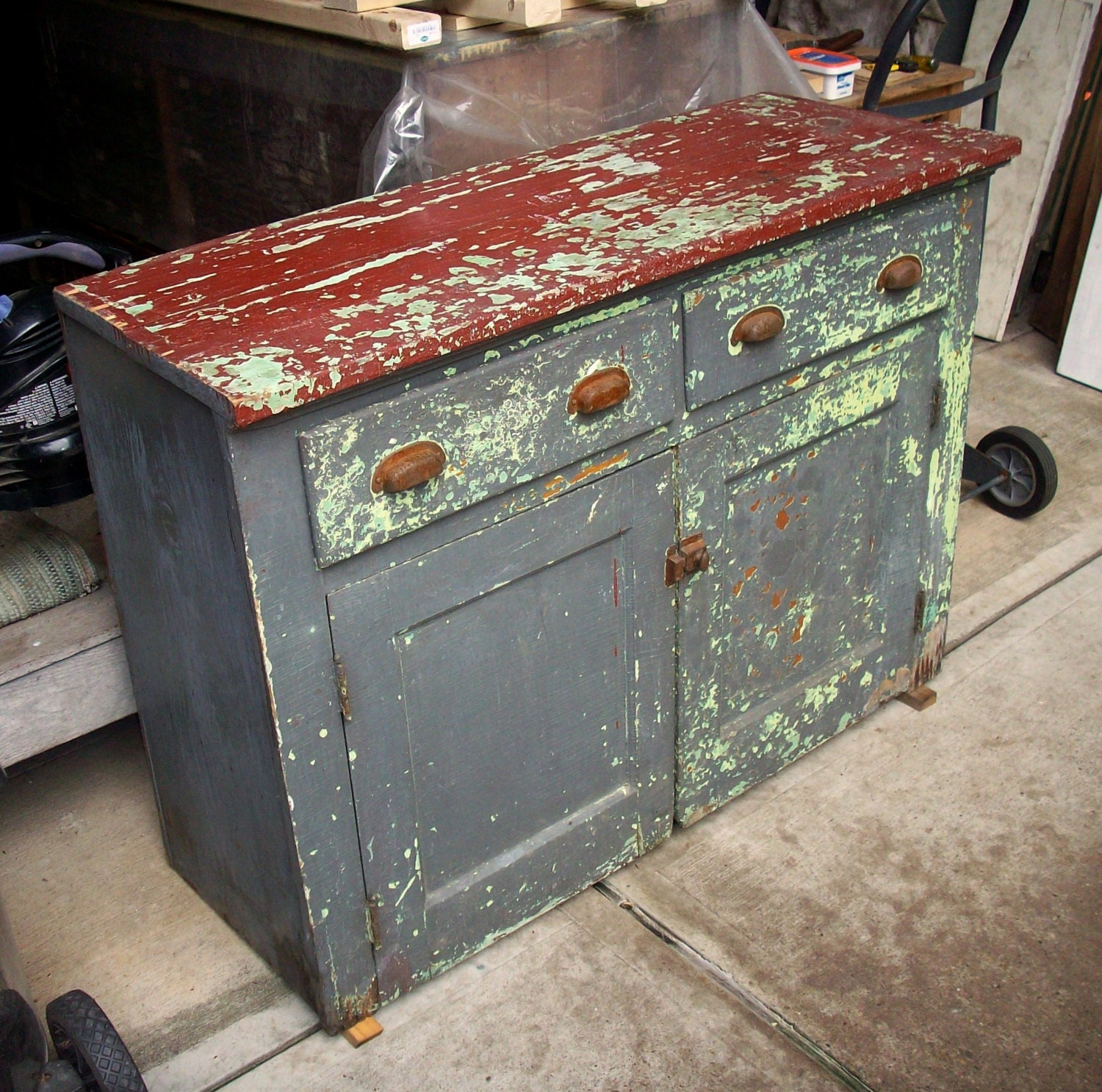 Vintage Painted Wood Cabinet / Heavily Distressed / Layers of