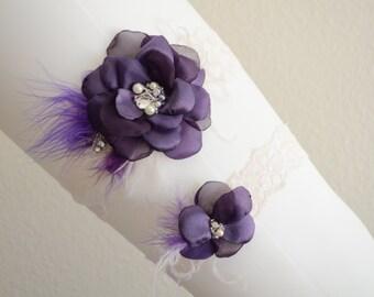 BEST SELLER,Ivory Purple Garter set, Lace garter set,Flower feather garter,Purple,Dark Purple,Ivory, Style B059