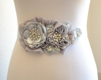 Bridal Grey Silver gown Sash,Floral Sash with Rhinestones and Pearls,Grey and Silver flower belt,Bridal vintage floral sash