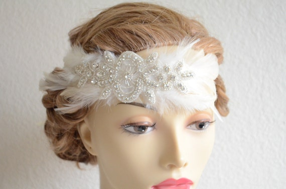 BEST SELLER,Flapper 1920's,1930's, Feather Rhinestone Flapper headband, Vintage headpiece, Ivory, white,champagne,Flapper Style, Style C030