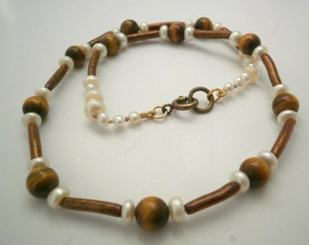 Necklace Golden Coral, Tiger Eye and Pearls