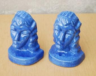Blue Aphrodite Glazed Ceramic Modern Sculptural Bookends jk