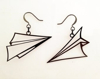 Paper Airplane Earrings Black