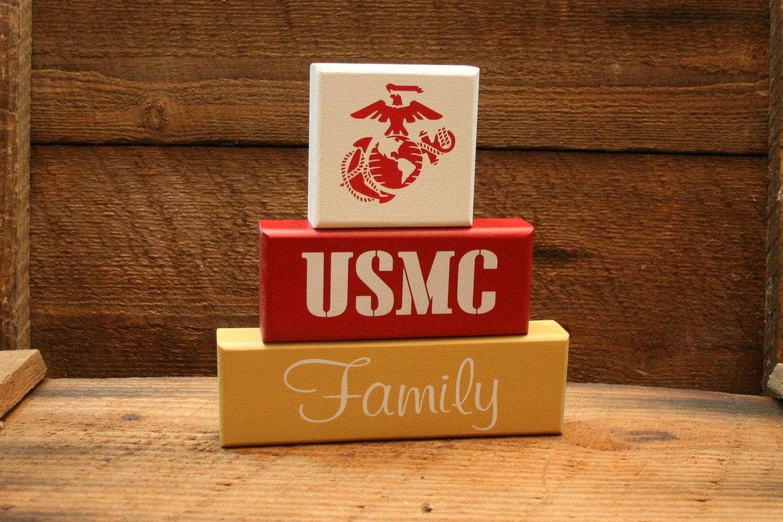 Marine Corps Decor USMC Block Set Shelf By KRCustomWoodcrafts