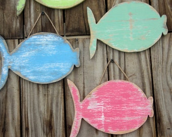 School Of 6  Wooden Fish, Beach-y Cottage Decor,  Mantle Display, Rustic Wall Hanging, MADE TO ORDER