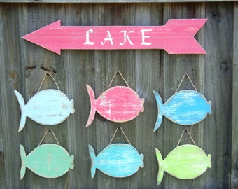 Wooden Arrow Sign With Set Of 6 Beachy Wooden Fish, Sea Shore Decor, Beach House Wall Art