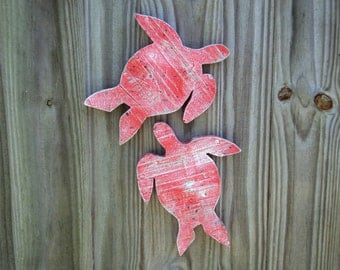 Rustic Beach Decor, Wooden Sea Turtles, Nautical Wall Hanging